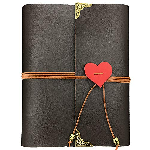 GLIN Photo Album, Leather Photo Scrapbook Memory Book Hand Made DIY Albums with 32 Sheets -