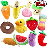 #4: CNMGBB Squeaky Dog Toys for Small Dogs Fruits and Vegetables Cute Plush Dog Crinkle Toy Set Puppy Dog Chew Toys 12pack