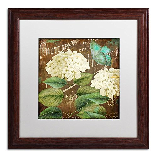 - Alabaster Hydrangea by Color Bakery, White Matte, Wood Frame 16x16-Inch