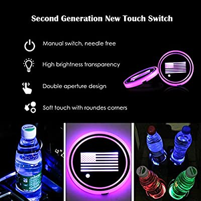 N / A Maodaner 2PCS Universal LED Car Cup Holder Lights, Drinks Coaster Accessories Interior with 7 Colors Changing USB Charging Mat Luminescent Cup Pad, Auto Decoration Atmosphere Lights (US Flag): Automotive