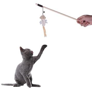 Amazon.es: Awhao Palo divertido con el gato Ejercicio divertido Juguete para gatos Juguetes Mascotas Juegos de imitación con campana