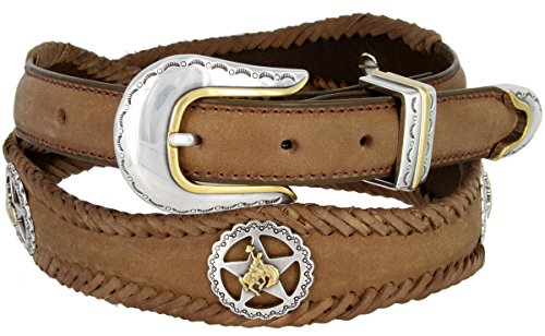 Western Texas Ranger Braided Leather Belt Star Rodeo Cowboy Conchos (Brown, 36)