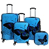 World Traveler 4-Piece Hardside Upright Spinner Luggage Set, Light Blue