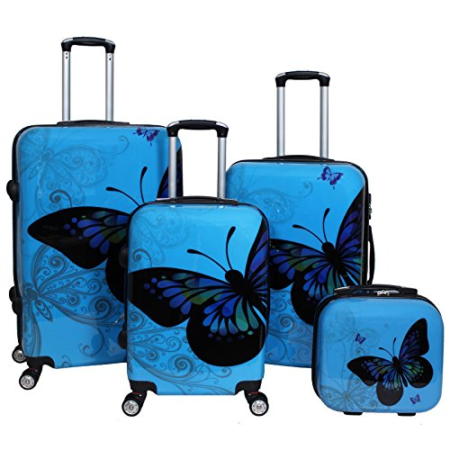 World Traveler 4-Piece Hardside Upright Spinner Luggage Set, Light Blue by World Traveler