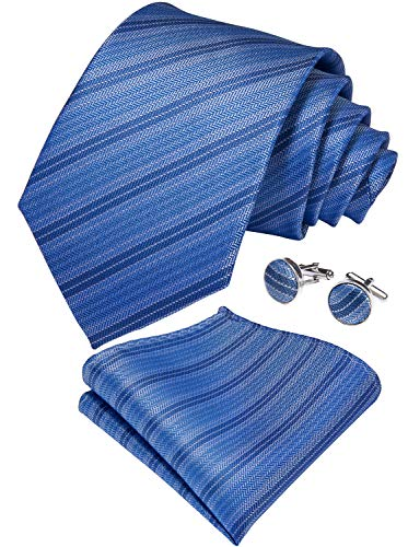 DiBanGu Blue Striped Tie Silk Mens Formal Necktie Pocket Square Cufflink Set Business