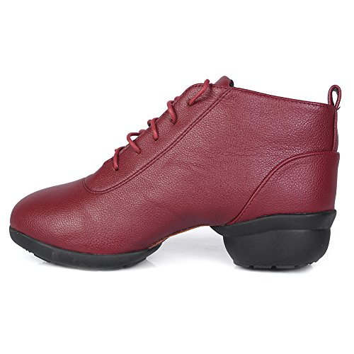 Shoes sneakers Dance and Ballroom Sneaker Performance Model Men Sports Red Women's WZJ Jazz Leather Boost Dance Roymall XDW Modern w761qzX