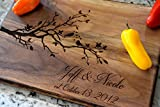 Love Birds Cutting Board with Personalized Name and Date - Personalized Gift - Laser Engraved Cutting Board - Tree Cutting Board - Personalized Cutting Board - Anniversary Gift