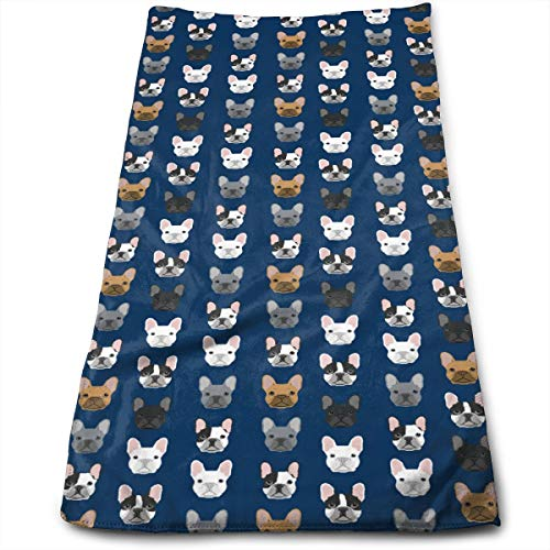- French Bulldog Navy Blue Compressed Quick-Dry Velour Fingertip Towels Washcloth - Carry-on, Durable, Lightweight, Commercial Grade, Ultra Absorbent - 12x27.5 Inches