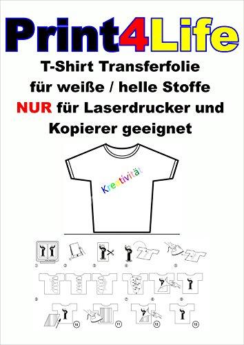 25 Blatt T-Shirt Folie für HELLE Textilien LASER DRUCKER A4 klar / transparent
