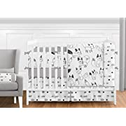 Sweet Jojo Designs 9-Piece Grey, Black and White Fox and Arrow Baby Boys or Girls Crib Bedding Crib Set with Bumper