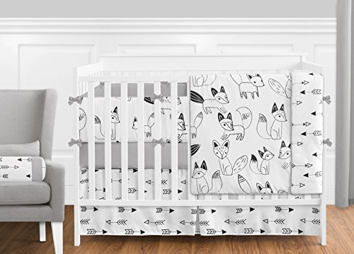 Grey, Black and White Fox and Arrow Baby Boys or Girls 9 Piece Crib Bedding Crib Set with Bumper