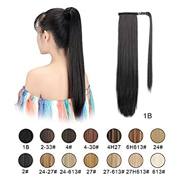 BARSDAR 26 quot  Long Straight Ponytail Extension Wrap Around Off Black  Synthetic Hair Extensions One Piece 76ded53df7