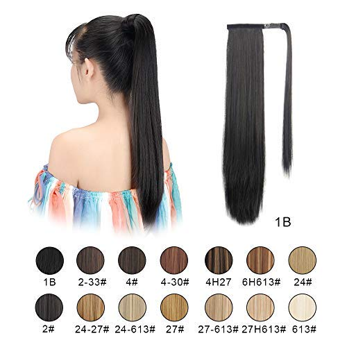 """BARSDAR 26"""" Long Straight Ponytail Extension Wrap Around Off Black Synthetic Hair Extensions One Piece Hairpiece Pony Tail Extension for Women Lady Girl (Long Ponytail Extensions 1B#)"""