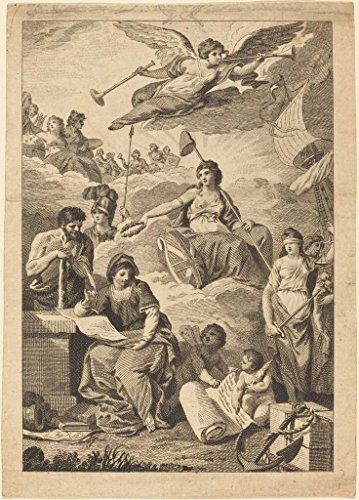 Artist: Probably British 19th Century | Print: Allegorical Figure of Britannia (?) with Hercules, (Mars?), Justice and Others | Date: 19th century | Vintage Fine Art - Medium Wall Britannia