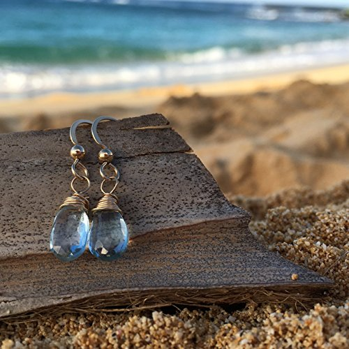 SIngle Blue Topaz Love and Vitality Hand-Crafted Artisan Earrings