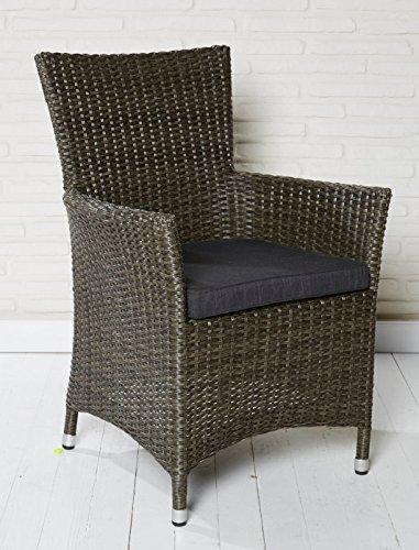6x Hochwertiger Polyrattan Gartenstuhl Aluminium Gestell Sessel Rattan Stuhl Gartenstühle Gartenmöbel Braun