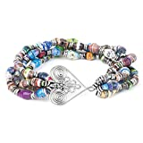 CATALOG CLASSICS Women's Healing Heart Recycled Paper Beads Stretch Bracelet - Made In Africa