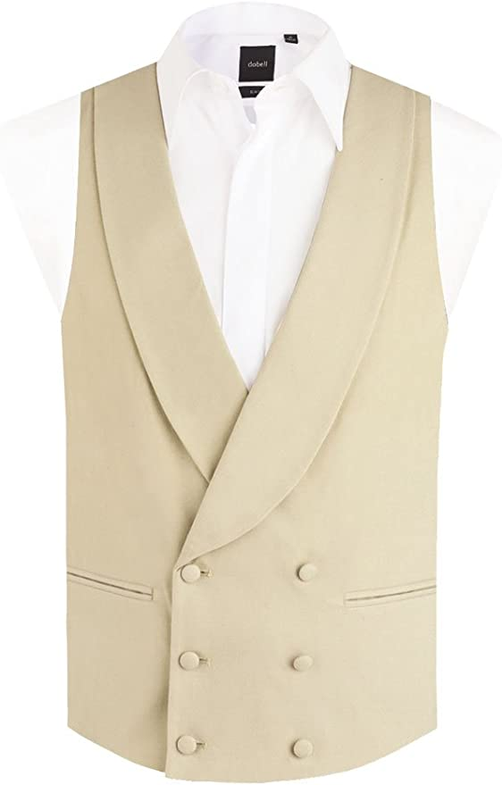 1920s Men's Fashion UK | Peaky Blinders Clothing Dobell Mens Gold/Buff Morning Suit Waistcoat Reg Fit Shawl Lapel Double Breasted £49.99 AT vintagedancer.com