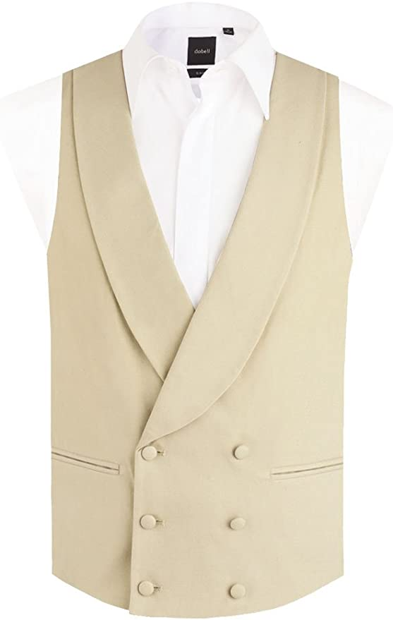 Edwardian Titanic Men's Formal Tuxedo Guide Dobell Mens Gold/Buff Morning Suit Waistcoat Reg Fit Shawl Lapel Double Breasted £49.99 AT vintagedancer.com