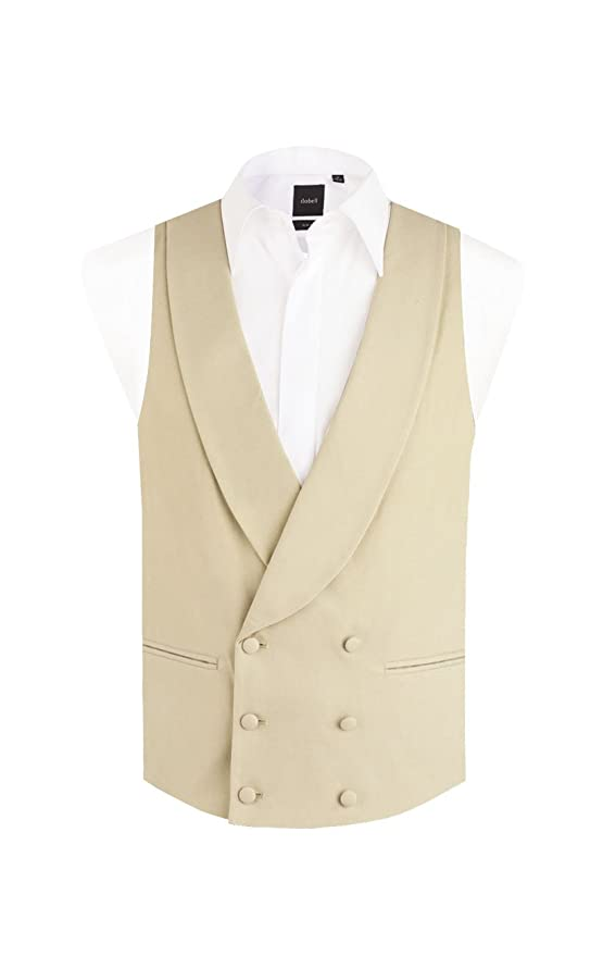 Edwardian Men's Formal Wear Dobell Mens Gold/Buff Morning Suit Wedding Vest Regular Fit Shawl Lapel Double Breasted $69.95 AT vintagedancer.com