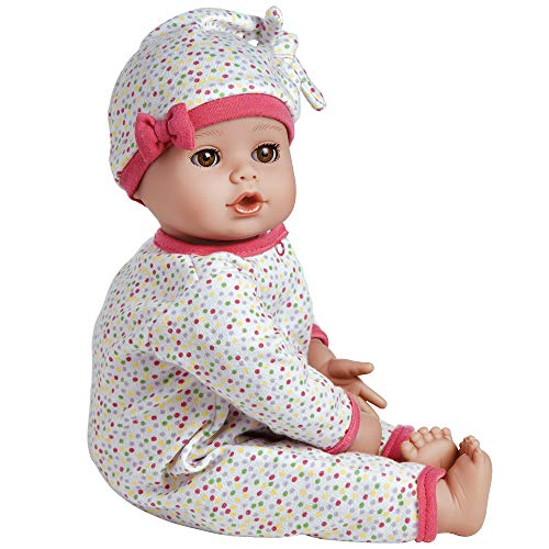 """51aMKbe PJL - Adora PlayTime Baby Dot Vinyl 13"""" Girl Weighted Washable Play Doll Gift Set with Open/Close Eyes for Children 1+ Includes Bottle Cuddly Snuggle Soft Toy"""