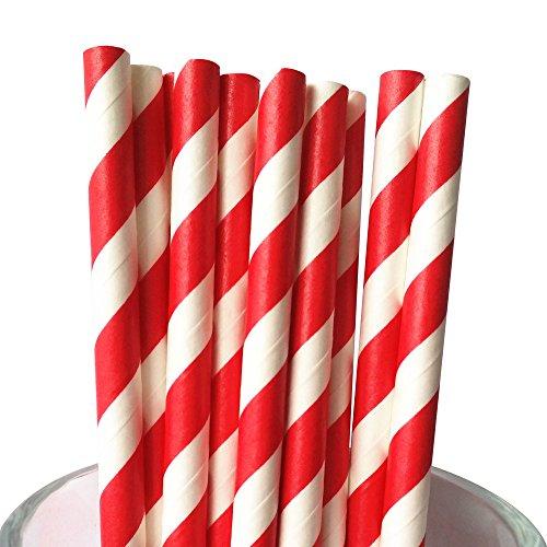 MY PAPER Striped Paper Straws Black Rose Gold Yellow Orange Pink Party Straws 7.75 Inch Lollipop Sticks 100 COUNTS (Striped Lollipop Sticks)