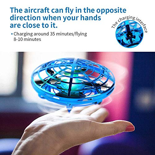 DaycMy Mini UFO Flying Ball Toys, Hand-Controlled Drone Quadcopter Flying Ball Toy Drones ,Infrared Induction Interactive Drone Indoor Flyer Toys with 360° for Kids, Teenagers Boys Girls(Blue) by DaycMy (Image #5)