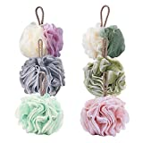 TOUGS Bath Shower Sponge Loofahs, Body Scrubber Mesh Pouf Ball, Exfoliate, Cleanse, Soothe Skin, 6 Pack
