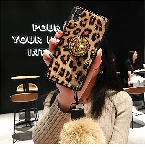 Airbag Kickstand Phone Case, Plush Ball Strap Phone Case, Diamond Bling Airbag Stand Holder Plush Ball Strap Leopard Square Case Cover for iPhone X (Brown Leopard, for iPhone X)