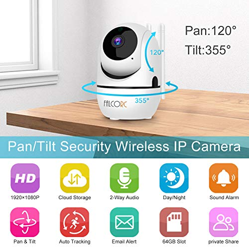 WiFi IP Security Camera – FALCORC 1080P Indoor Baby Monitor Camera for Home Security Surveillance System,Nanny Pet Dog Cam with AWS Cloud Storage,Auto Tracking,Sound Detection,Compatible with Alexa