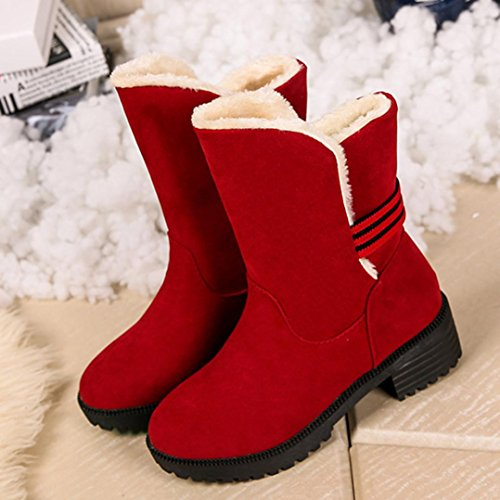 Boots Shoes Scrub Flat TM Fashion 2018New Ankle Elevin Winter Red Womens Snow Warm zqFnPSw