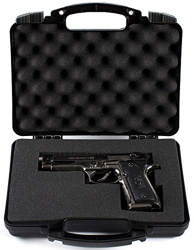 Daoe NWT110 Lockable Hard Pistol Gun Case with Pluckable Foam, TSA Approved
