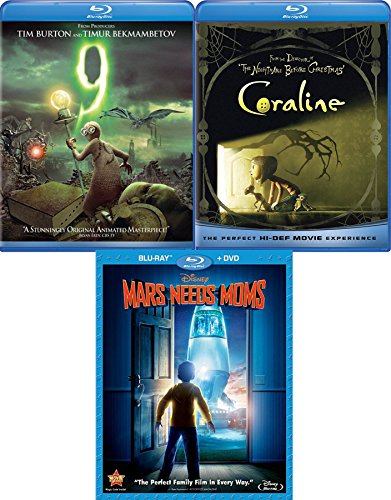 Discover Secrets Animated 3-pack Tim Burton 9 & Coraline + Disney Mars Needs Moms Blu Ray Triple Feature Movies