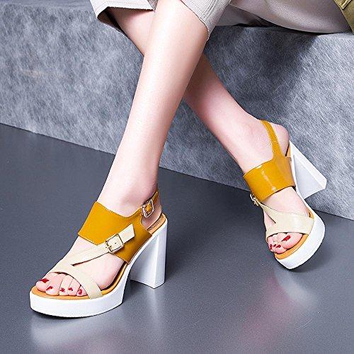 Frau Römische Pumps Freizeit 5 9 Schwarz Schuhe High Heels Handel ZHRUI cm Absatzhöhe PU Hochzeitszeremonie Tägliche Orange Sandalen A6012 xqA5FwtntY