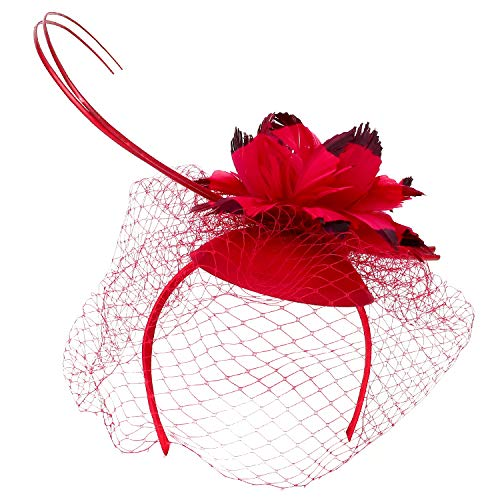 (Trendy Apparel Shop Feather Trimmed Flower Wool Felt Fascinator with Mesh Net - Red)