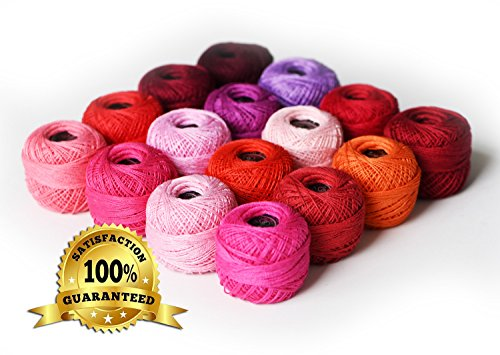 LE PAON Soft 10g Cotton Balls Rainbow Colors of Size 8 Perle/pearl Cotton Threads for Crochet, Hardanger, Cross Stitch, Needlepoint Hand Embroidery. All Different Colors (Red Series) (Perle Cotton Balls)
