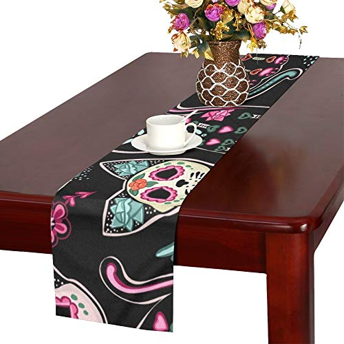 ENEVOTX Day Dead Halloween Table Runner, Kitchen Dining Table Runner 16 X 72 Inch for Dinner Parties, Events, Decor]()