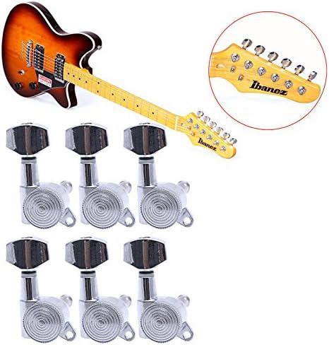Horrenz - Juego de 6 piezas de clavijas de afinación para guitarra (cromo), cromado: Amazon.es: Instrumentos musicales
