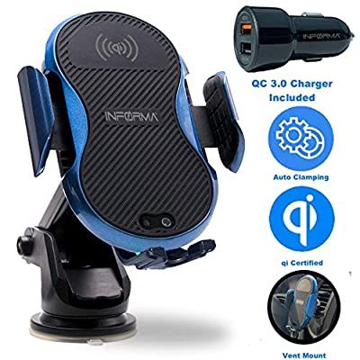 Informa Wireless Charger Car Mount, Auto Clamping, Qi Car Wireless Charger QC 3.0 Dual car Charger Adapter Included, 7.5w Compatible with Xs/Xs Max/XR/X/8/8 Plus and 10w S10/S10e/S10+/S9/S9+/S8/S7: Home Audio & Theater