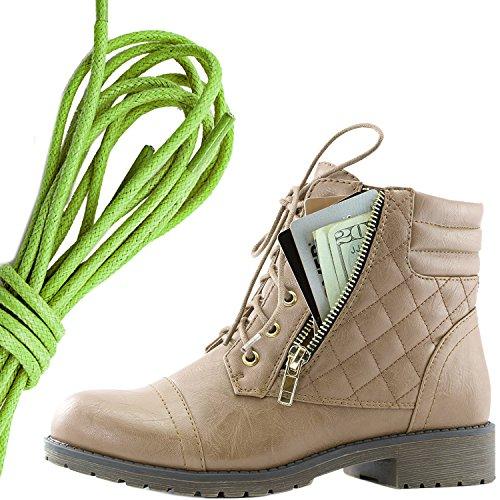 Dailyshoes Donna Militare Allacciatura Fibbia Stivali Da Combattimento Caviglia Alta Esclusiva Tasca Per Carte Di Credito, Verde Lime Beige Pu