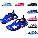 FASHOE Kids Swim Shoes Quick Dry Barefoot Socks Toddler Water Shoes for Baby's Boy's Girl's -07Blue-30