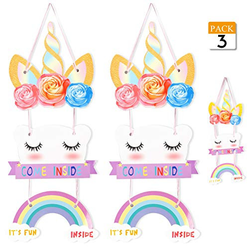 VONDERSO Unicorn Party Supplies Magical Rainbow Welcome Door Hanger Sign for Birthday and Baby Shower Party Decoration 3Pack