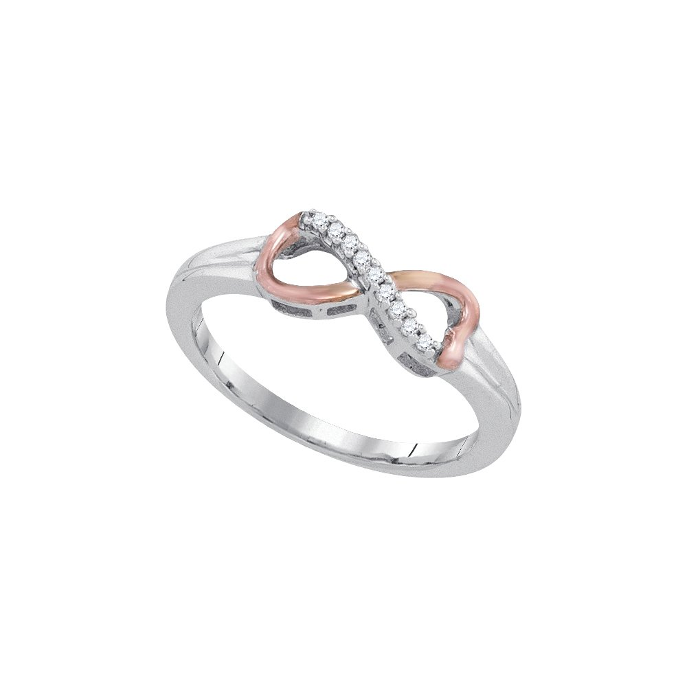 Sonia Jewels Size 5.5-925 Sterling Silver Round Diamond 2-tone Infinity Ring 1/20 Cttw