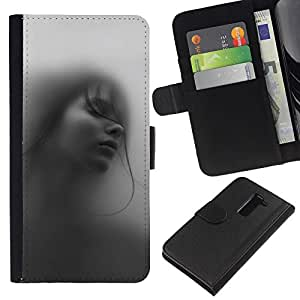 All Phone Most Case / Oferta Especial Cáscara Funda de cuero Monedero Cubierta de proteccion Caso / Wallet Case for LG G2 D800 // Girl Woman Deep Beautiful Black White