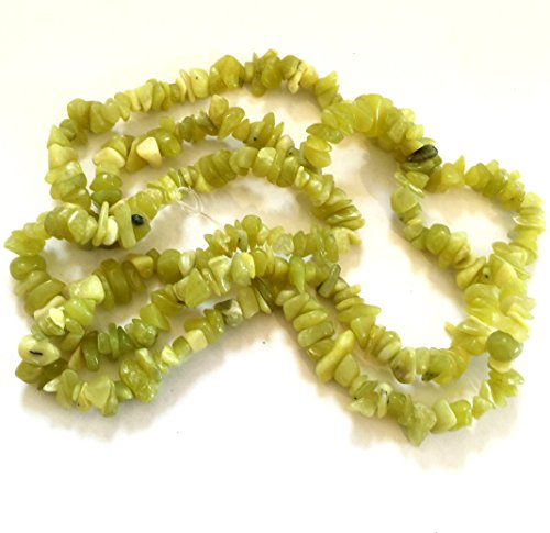 Natural Olive New Jade Serpentine Medium Chip, Light Green, Yellow 32 Inch Strand