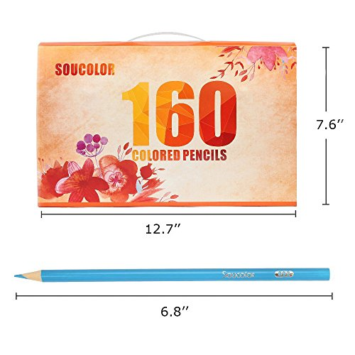 Soucolor 160 Colored Pencils Set Artist Drawing Coloring Pencils for Adult Coloring Books Art Projects by Soucolor (Image #5)