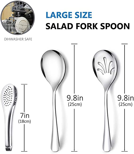 """Events Set of 24 Heavy Duty Disposable Plastic Serving Utensils Clear Serving Sets Perfect for Parties Four 6-1//2/"""" Tongs BBQs and More! Four 10/"""" Spoons and Forks"""