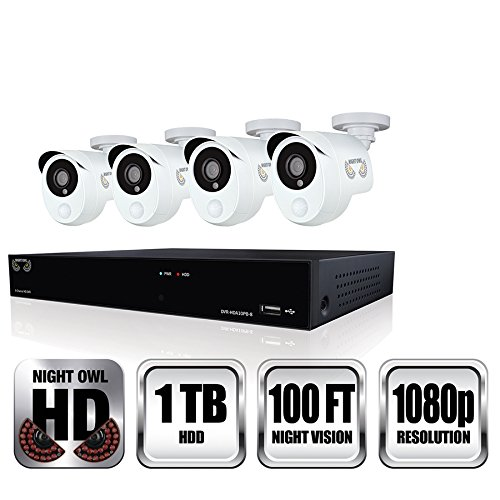 Night Owl Security 8 Channel 1080p HD Video Security DVR with 1 TB HDD and 4 x 1080p Wired Infrared Cameras