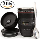 Camera Lens Coffee Mug -13.5oz, SUPER BUNDLE! (2 LIDS + SPOON) Stainless Steel, Travel Coffee Mug, Sealed & Retractable Lids! Camera Mug, funny coffee mugs, unique coffee mugs, personalized gifts