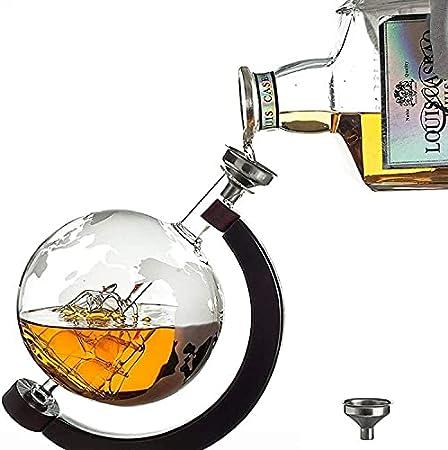 NECZXW1 Conjunto de Vidrio de Globo de Whisky, con 2 Gafas de Whisky, dispensador de Vino de la Botella de Vidrio Marino Antiguo, Usado para el Whisky escocés, Whisky Bourbon, Vodka-850ml
